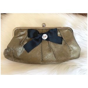 Authentic Marni Gold with Black Bow Leather Clutch